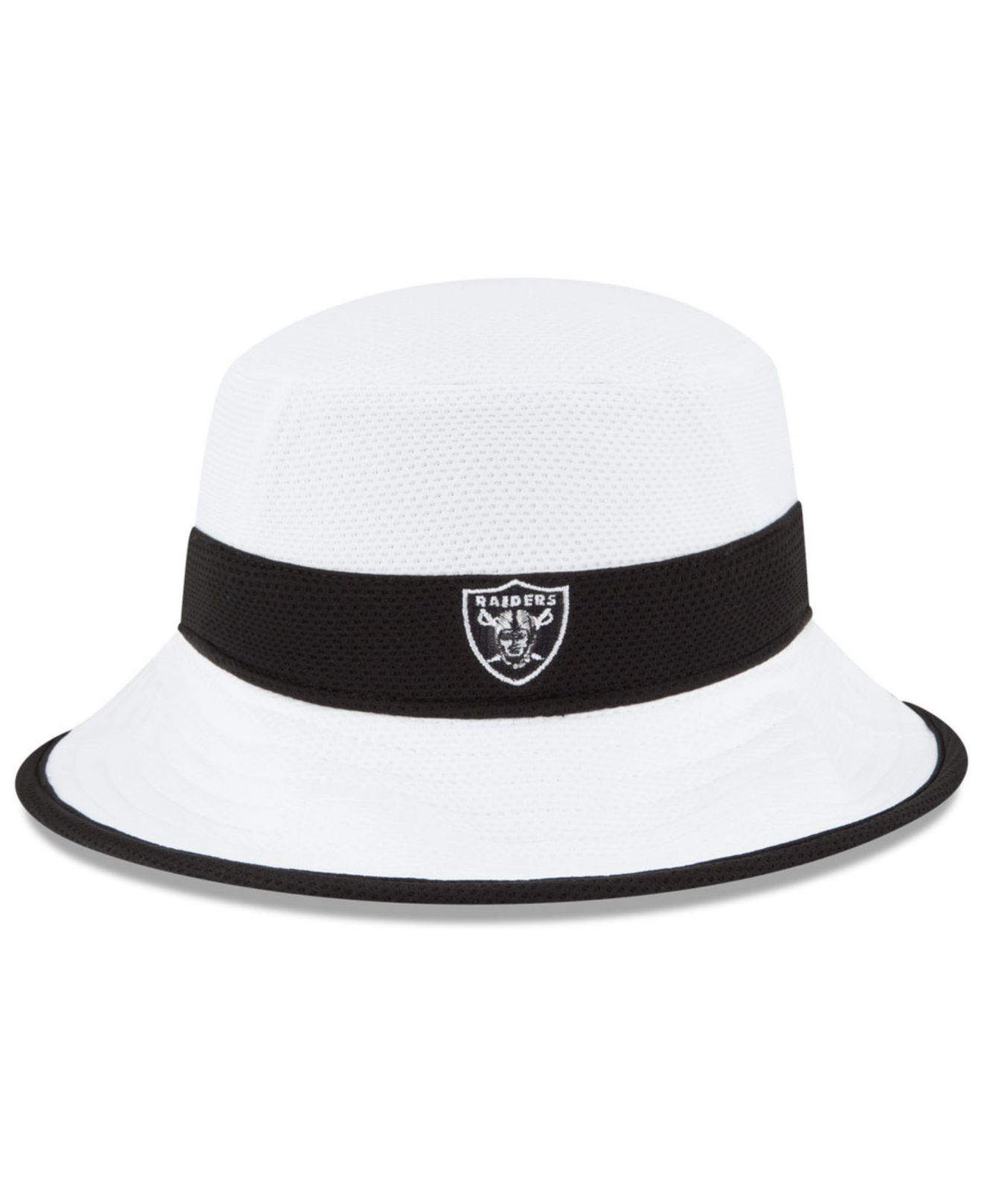 b44b5bcfc007f KTZ Oakland Raiders Training Camp Official Bucket Hat in White for ...
