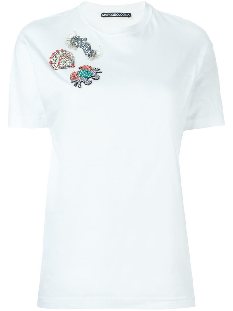 Lyst - Marco Bologna Embellished Seashell Patch T-shirt in White