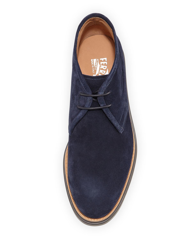Ferragamo Lagos Suede Chukka Boots In Blue For Men Lyst
