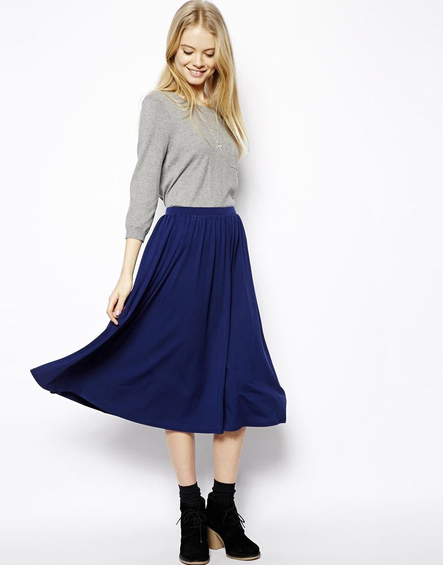 Asos Full Midi Skirt in Blue | Lyst
