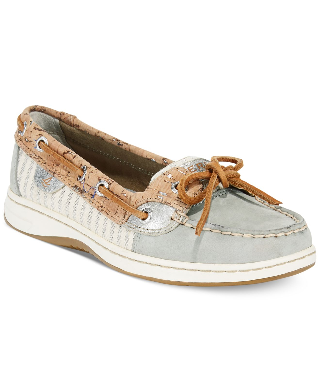 Sperry top sider women 39 s angelfish cork boat shoes in gray for Best boat shoes for fishing