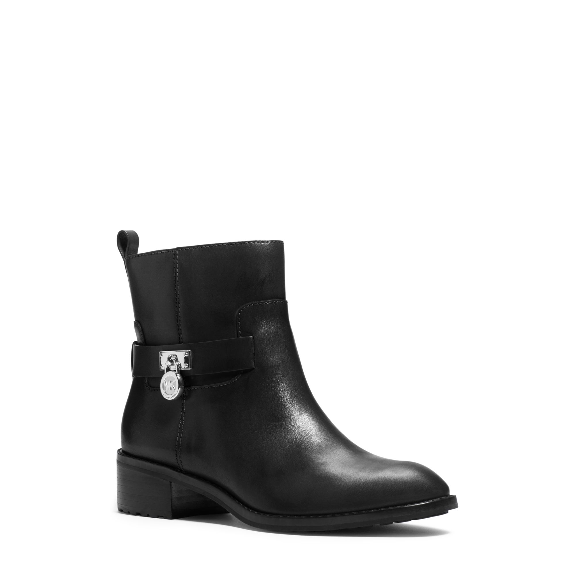 Michael kors Ryan Leather Ankle Boot in Black | Lyst