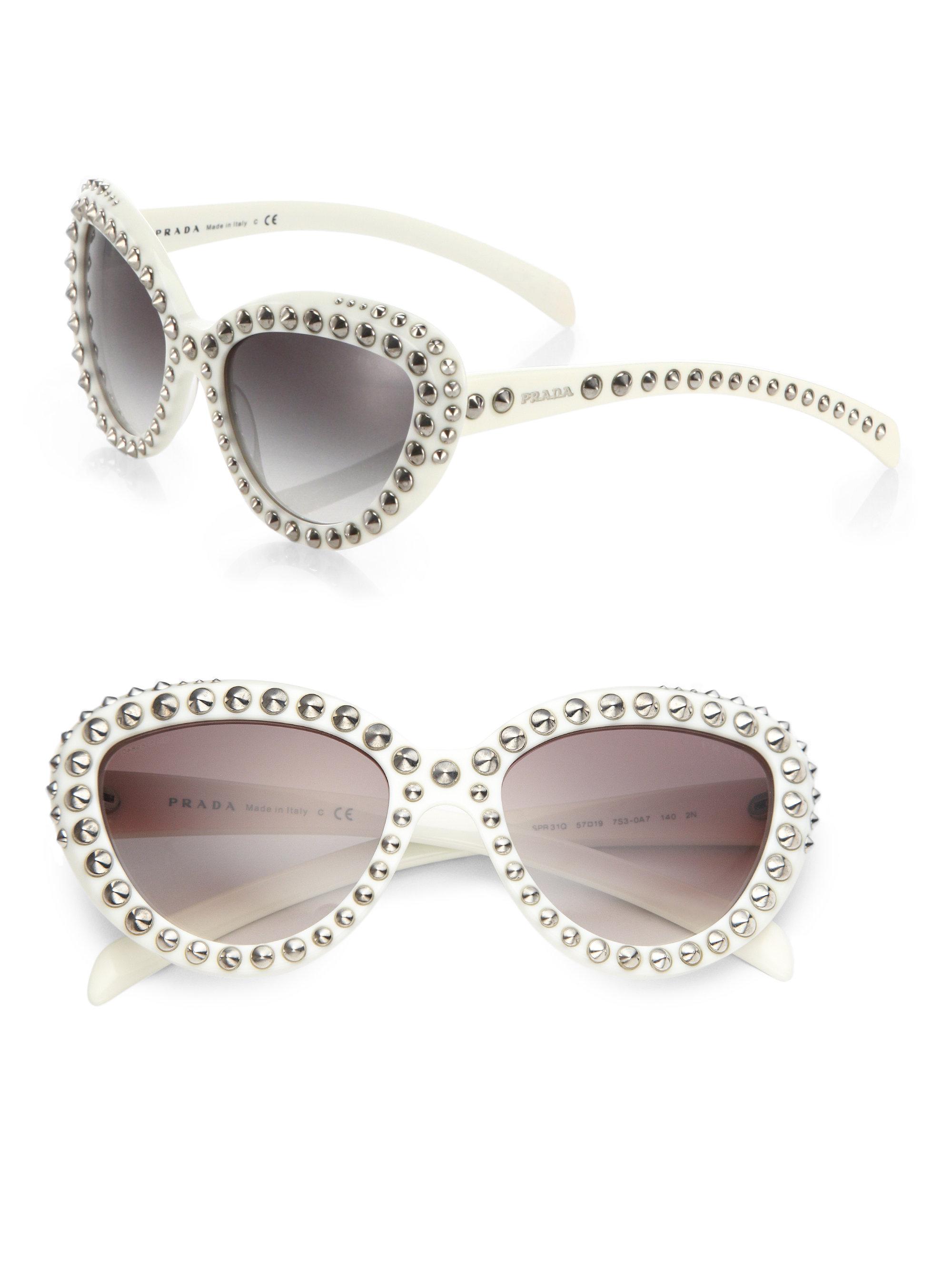 Prada 56mm Studded Round-frame Sunglasses in White Lyst