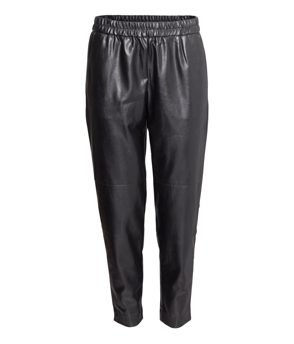 New Imitation Leather Joggers In Black  Lyst