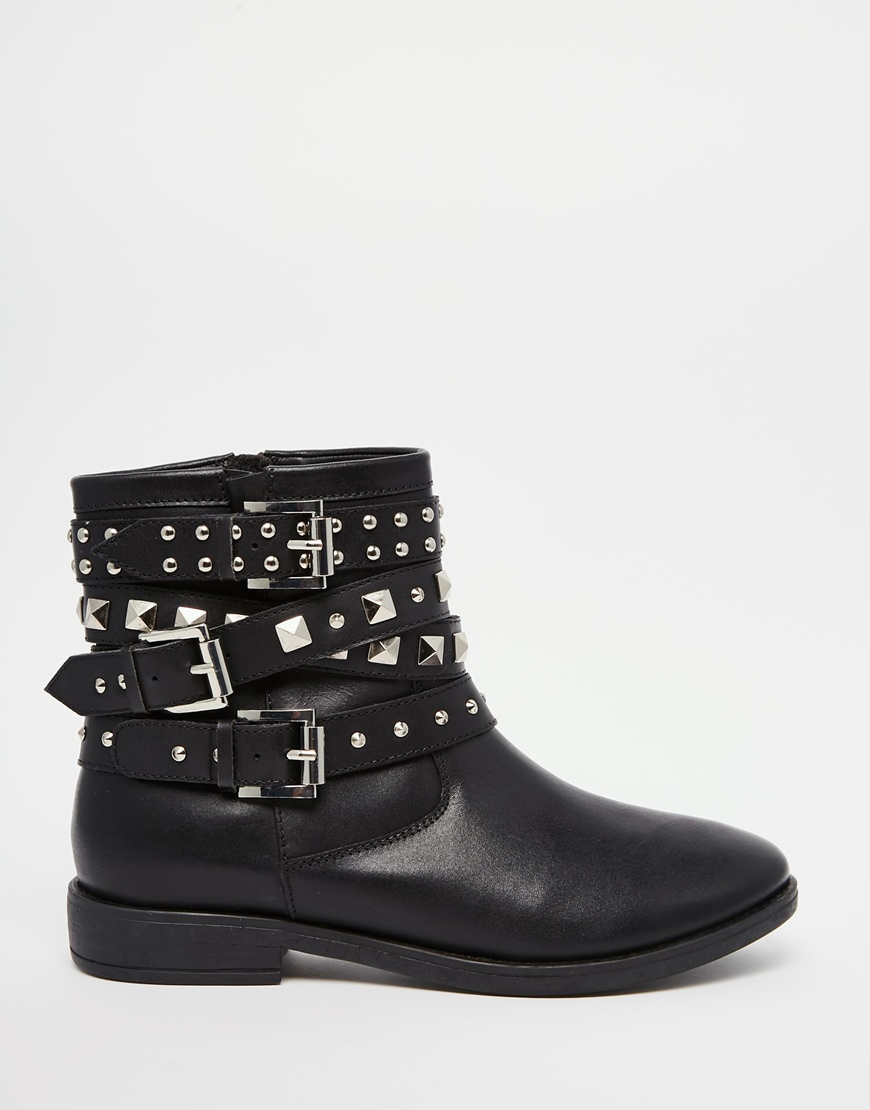 Asos Agro Leather Studded Biker Boots In Black Lyst