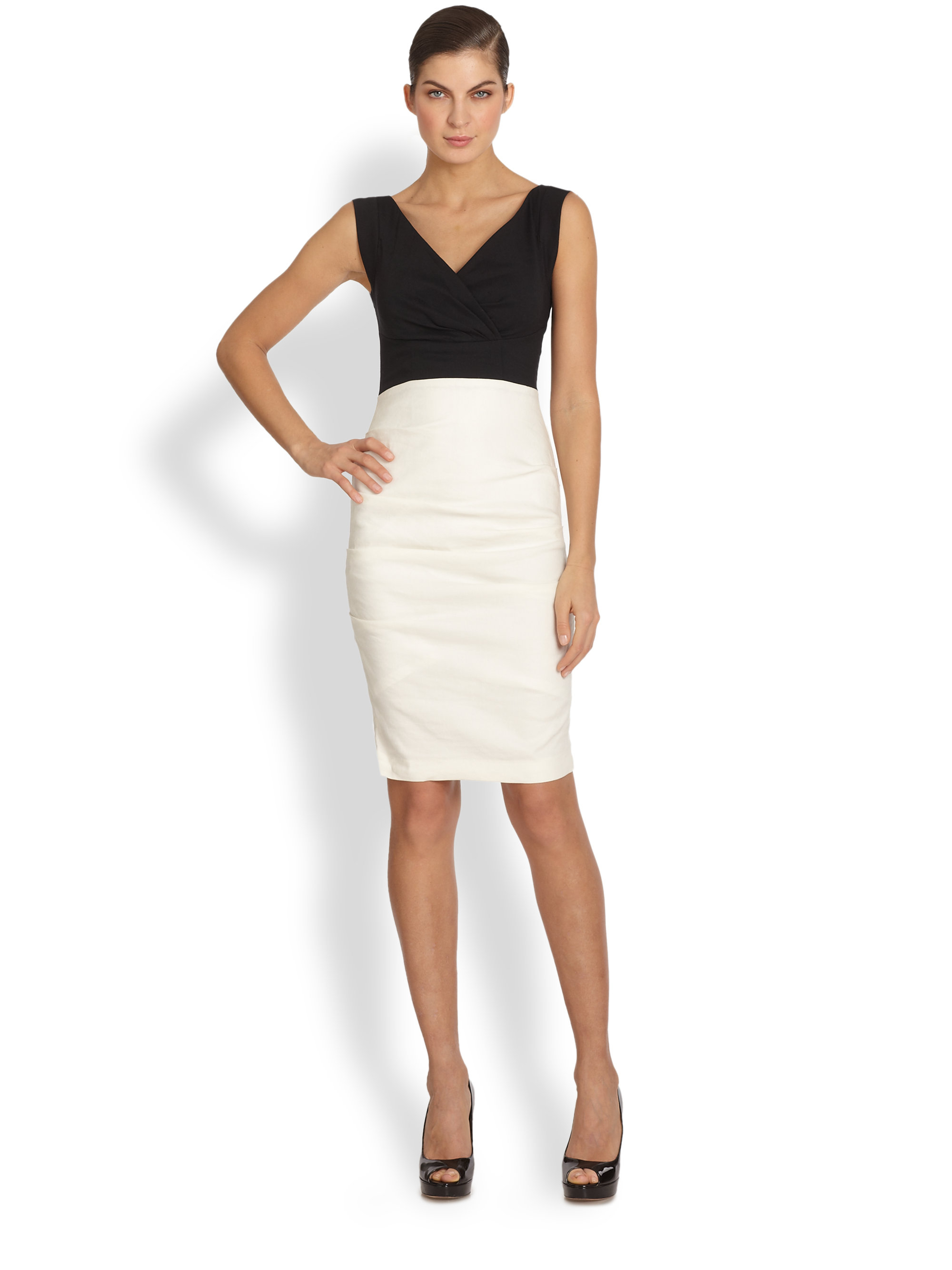 Lyst Nicole Miller Andrea Two Tone Cocktail Dress In Black