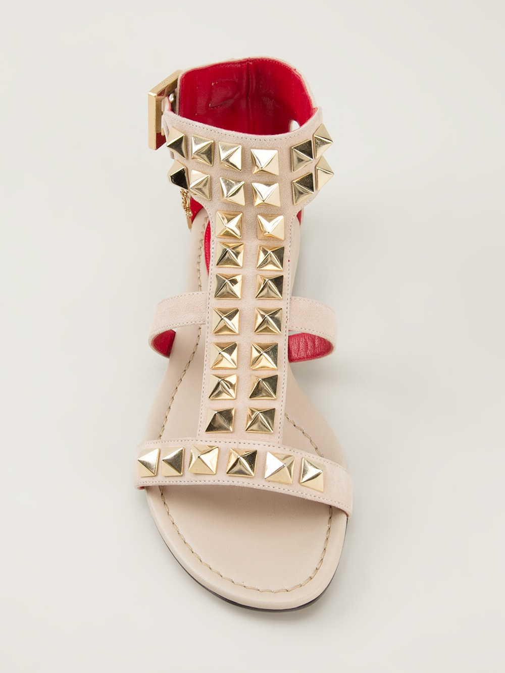 Studded Paciotti Sandals In Cesare Lyst Flat Nnwovm08 Natural kOiPuTXZ