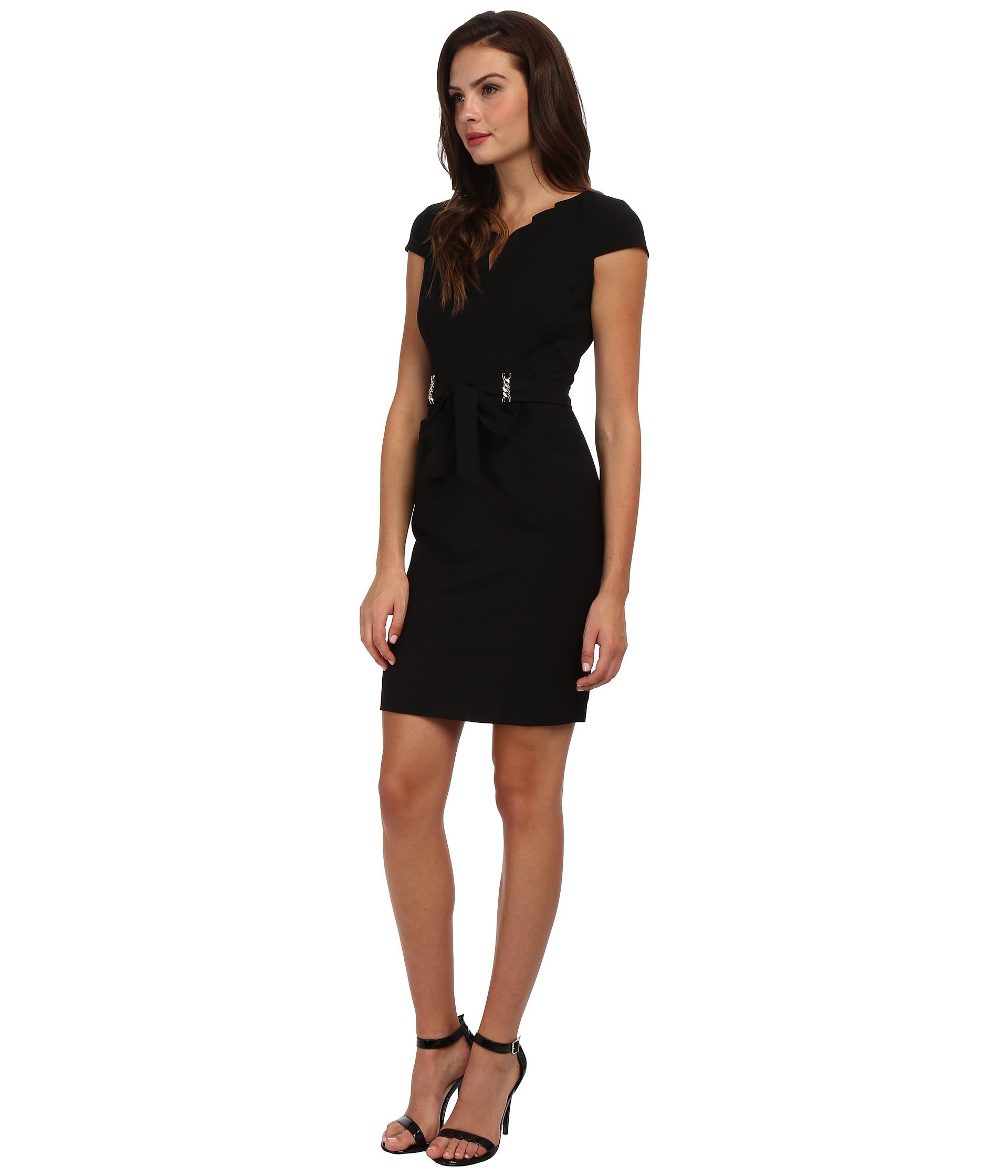 ellen tracy bistretch career dress with neck cutout in black lyst. Black Bedroom Furniture Sets. Home Design Ideas