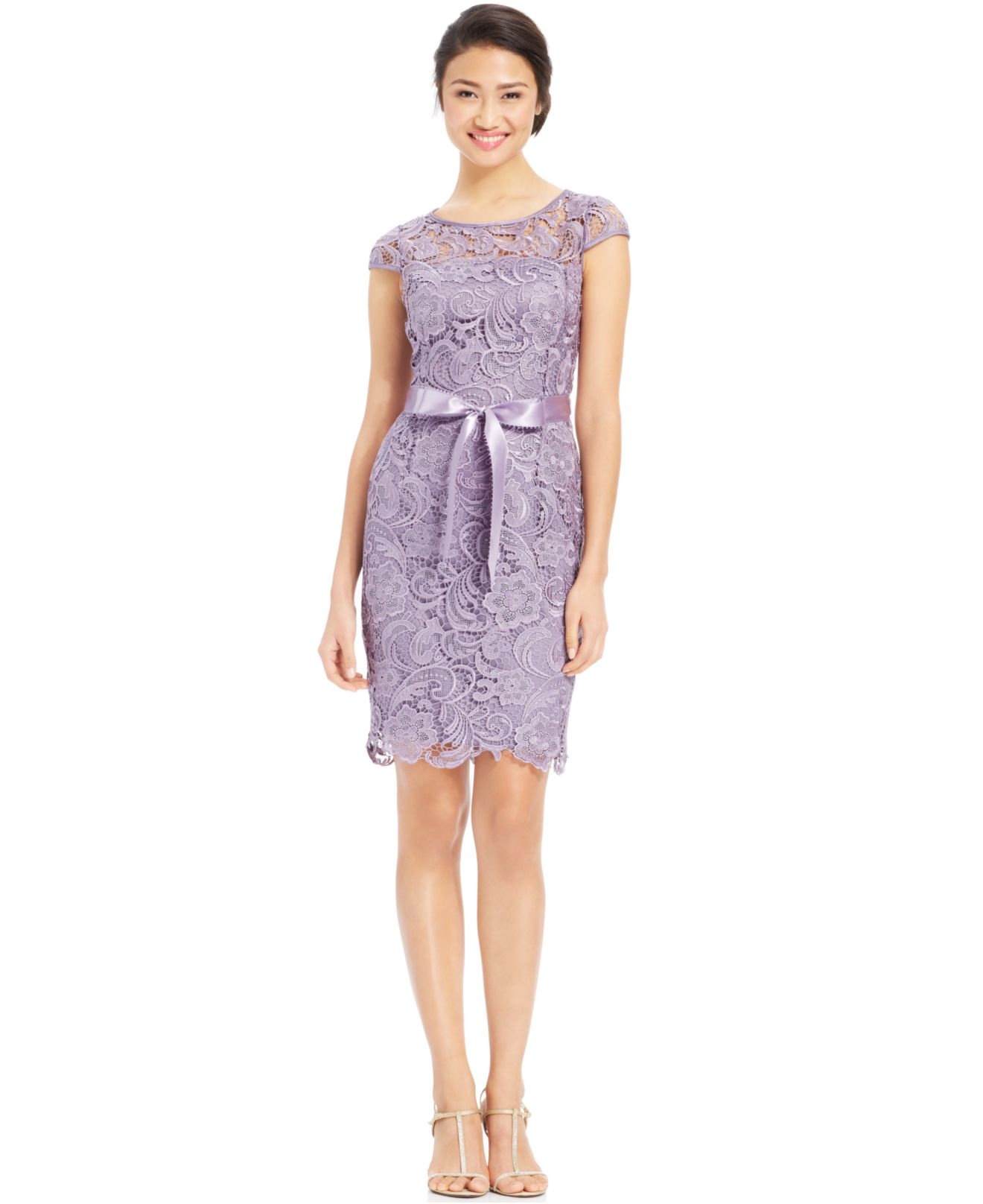 Lyst - Adrianna Papell Cap-Sleeve Illusion Lace Sheath in ...