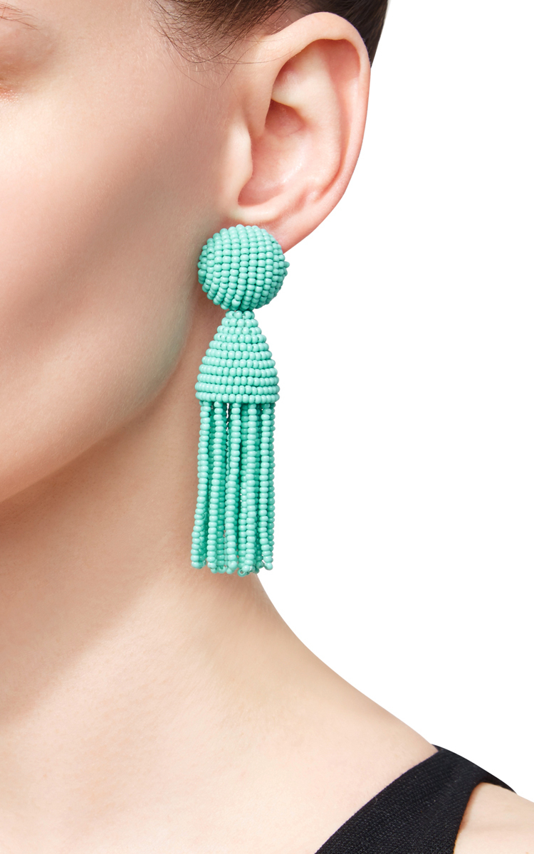 beaded tassel earrings - Blue Oscar De La Renta SRpqDwPQBG