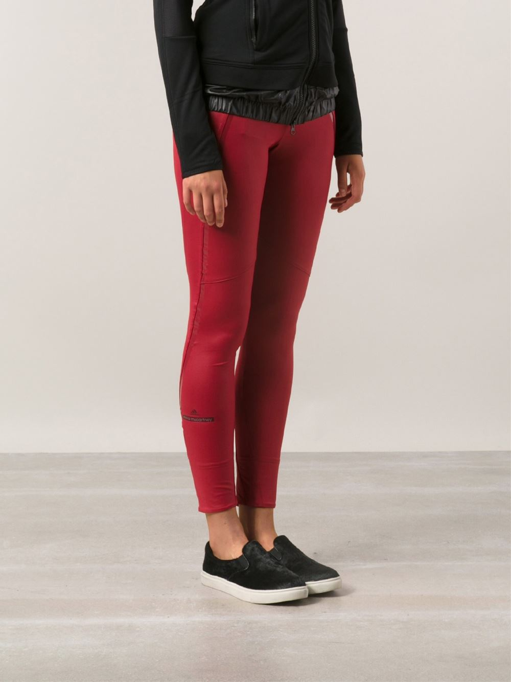 lyst adidas by stella mccartney stella mccartney 39 run performance 39 leggings in red. Black Bedroom Furniture Sets. Home Design Ideas