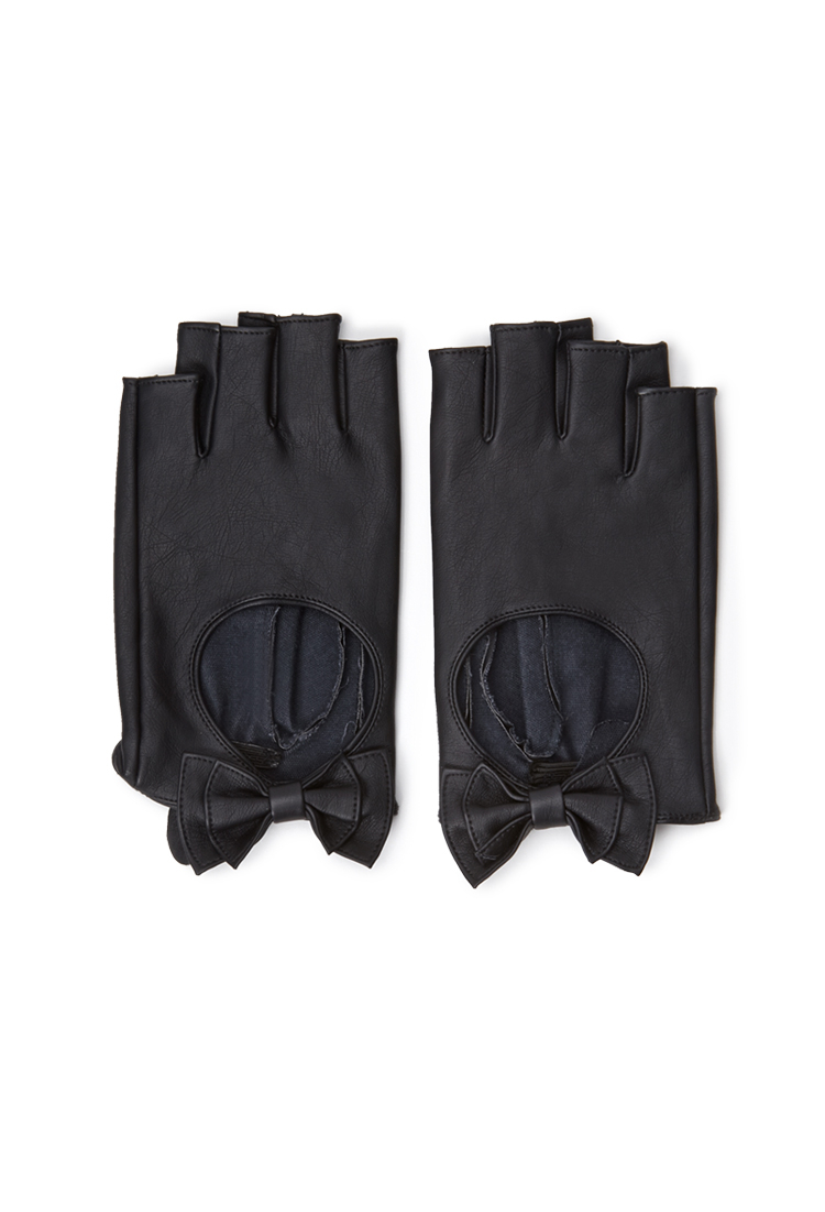 eb776be2a Forever 21 Faux Leather Fingerless Gloves in Black - Lyst