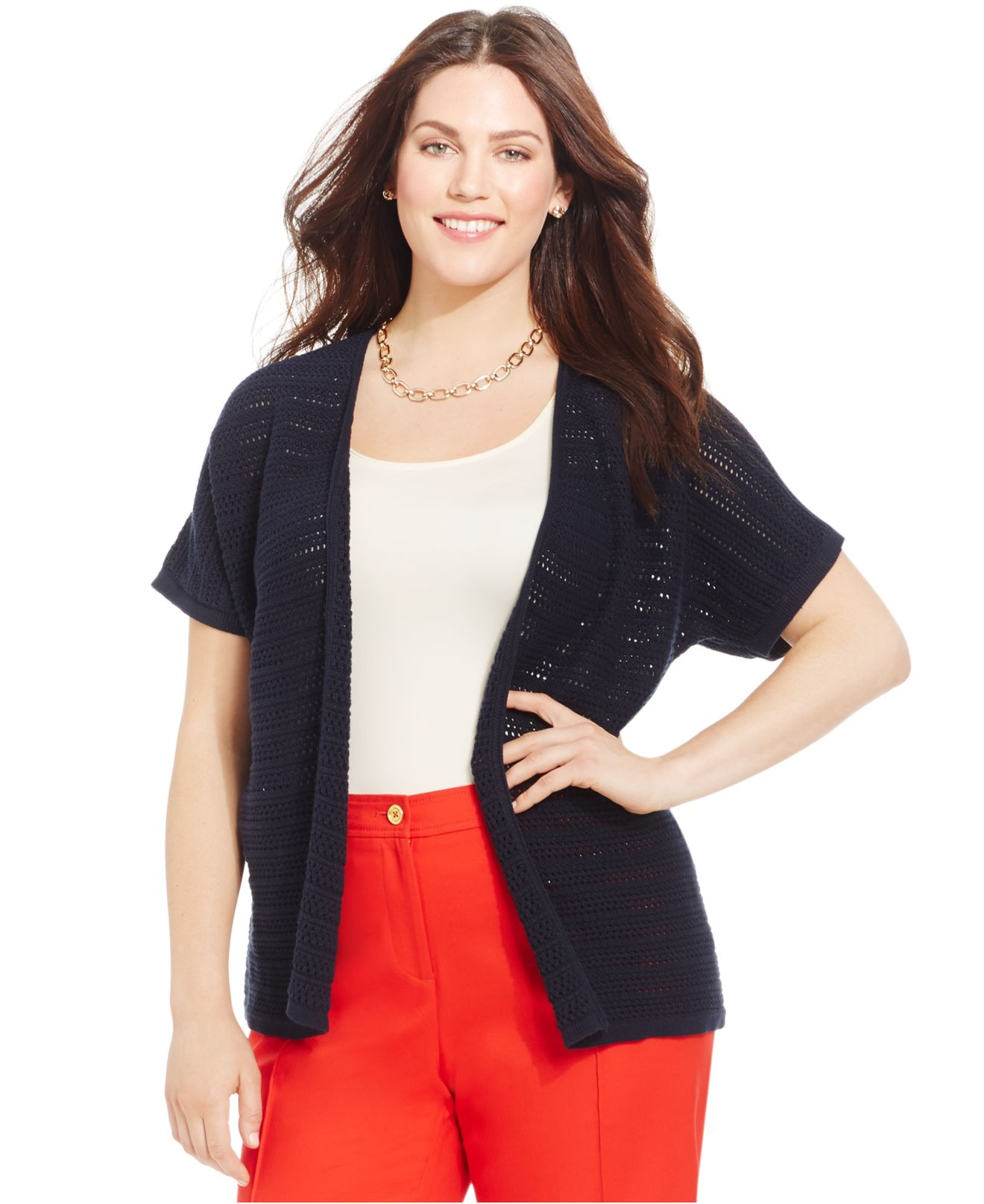 Jones New York Collection Plus Size Open Front Cardigan In
