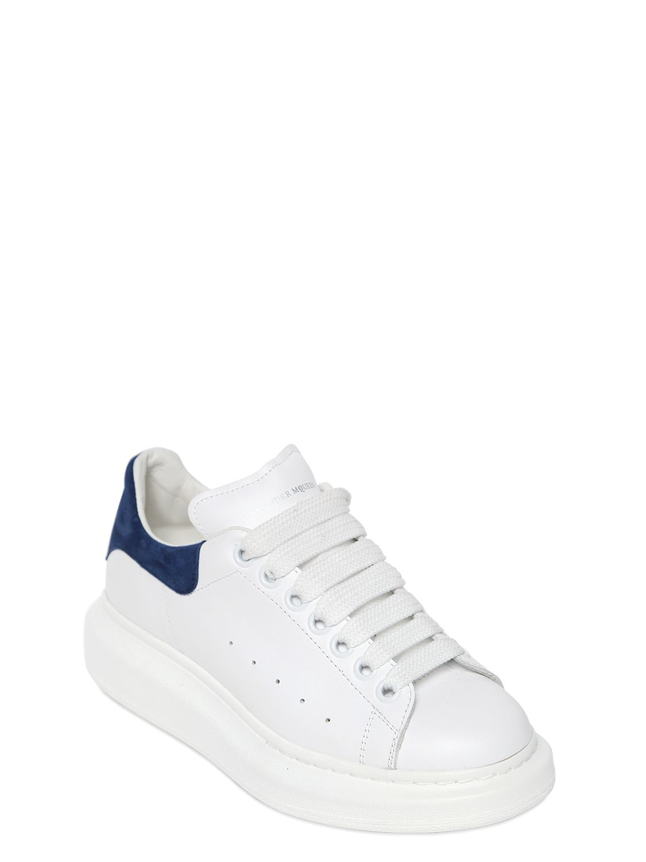 Alexander McQueen 40mm Suede Heel Leather Sneakers in White ...