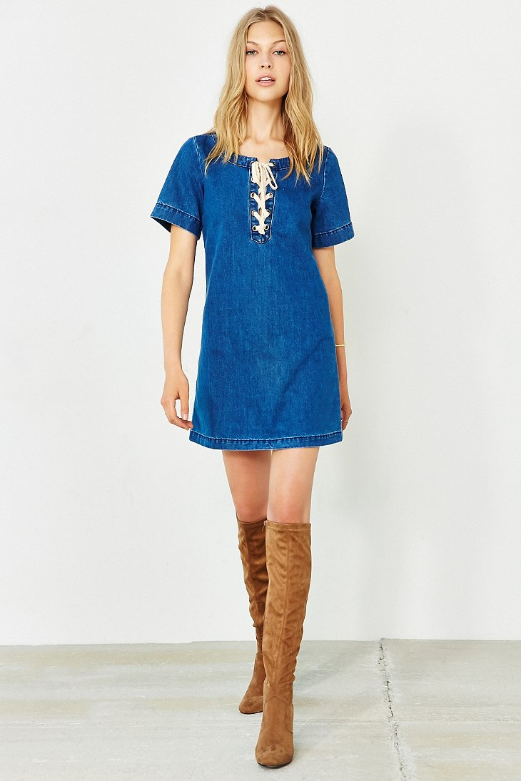 Glamorous Denim Lace-up Shift Dress in Blue | Lyst - photo#20