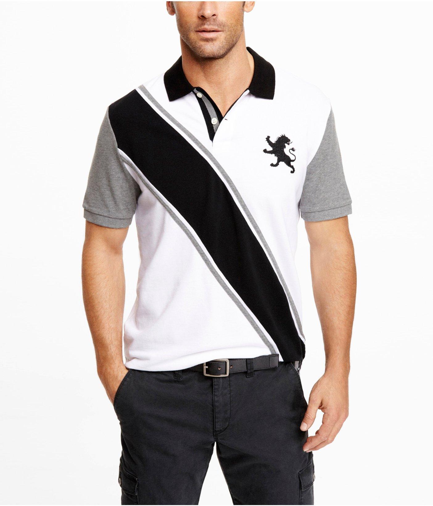 Express Sash Stripe Large Lion Polo In Black For Men