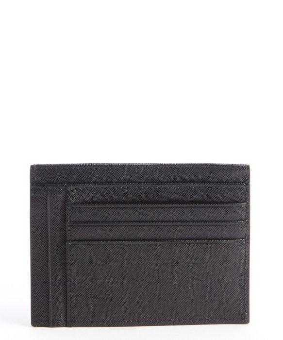 Prada Black Leather Zip Pouch Card Holder in Black for Men   Lyst
