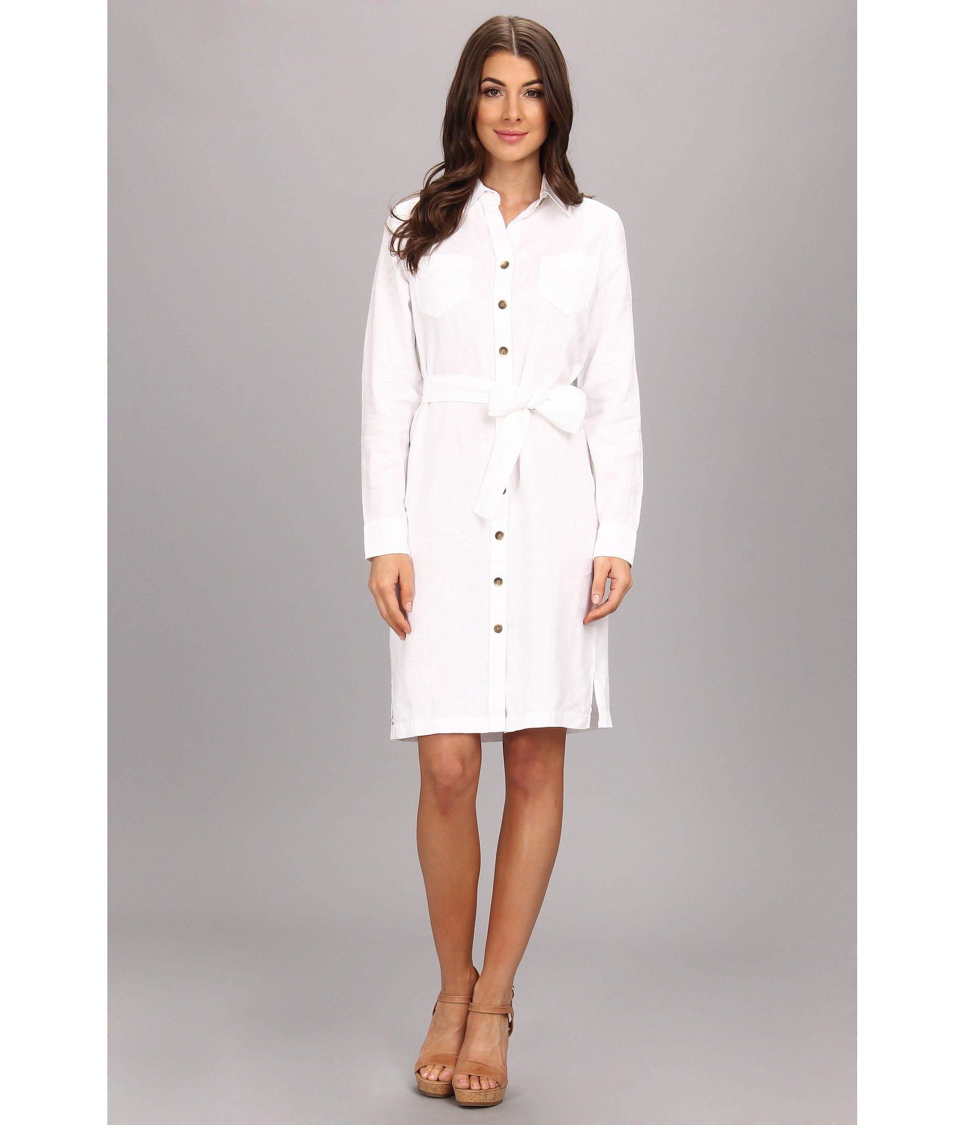 Pendleton palisades linen shirt dress in white lyst for White linen dress shirt