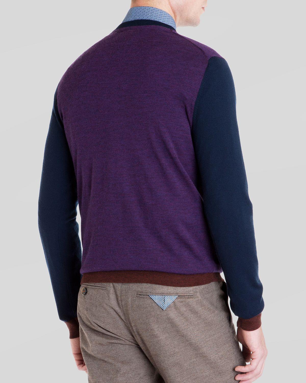 Ted baker Blokvee Color Block Merino Sweater in Purple for Men | Lyst