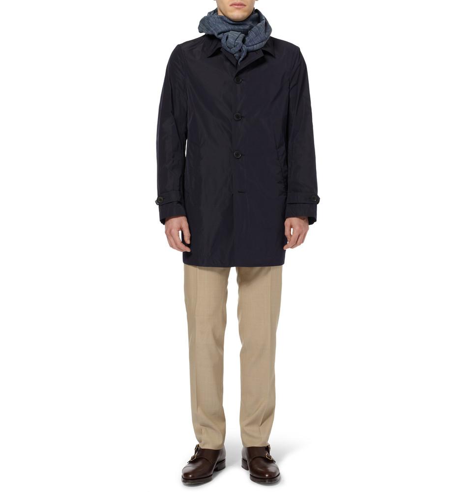 ab2ca3e6e Canali Blue Rain Wind Tech Trench Coat for men