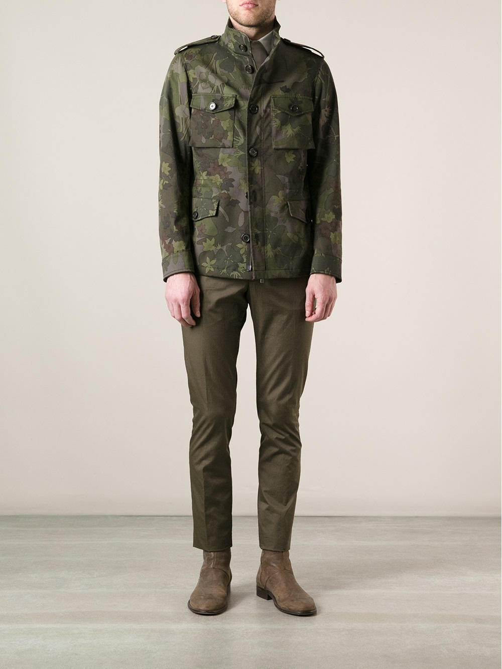 Etro Camouflage Military Jacket in Green for Men