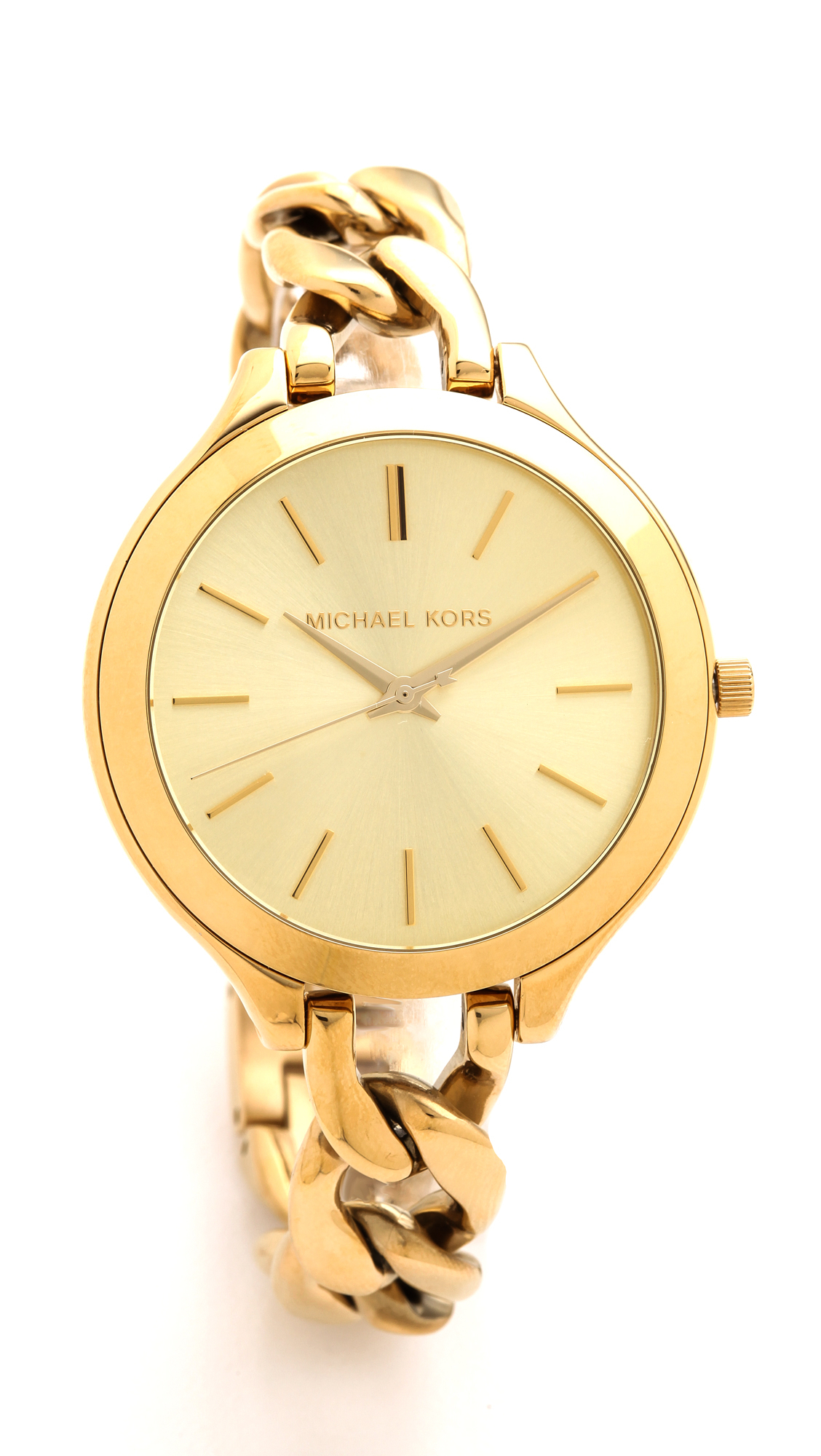 Michael kors slim runway twist watch gold in gold lyst for Watches michael kors