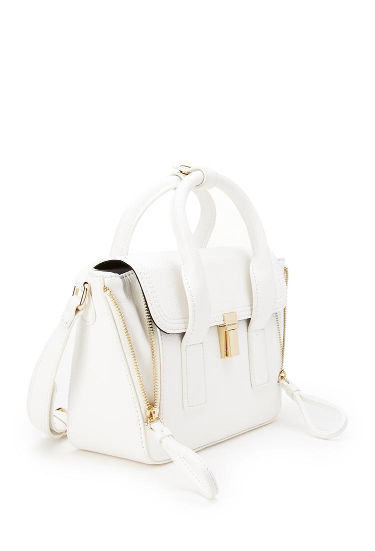 0163c7afad7e Lyst - Forever 21 Mini Crossbody Trapeze Bag in White