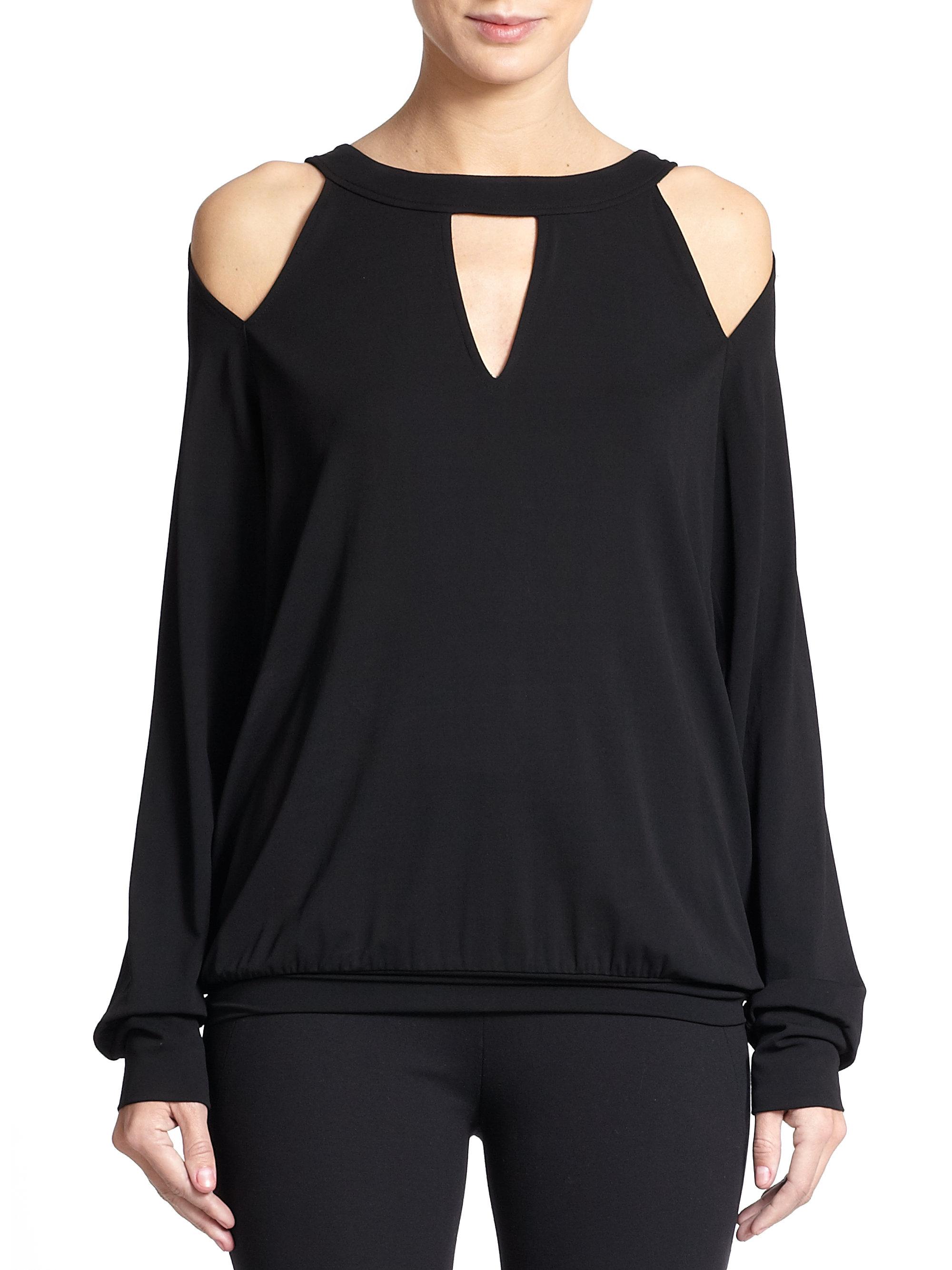 lyst donna karan cold shoulder blouse in black. Black Bedroom Furniture Sets. Home Design Ideas
