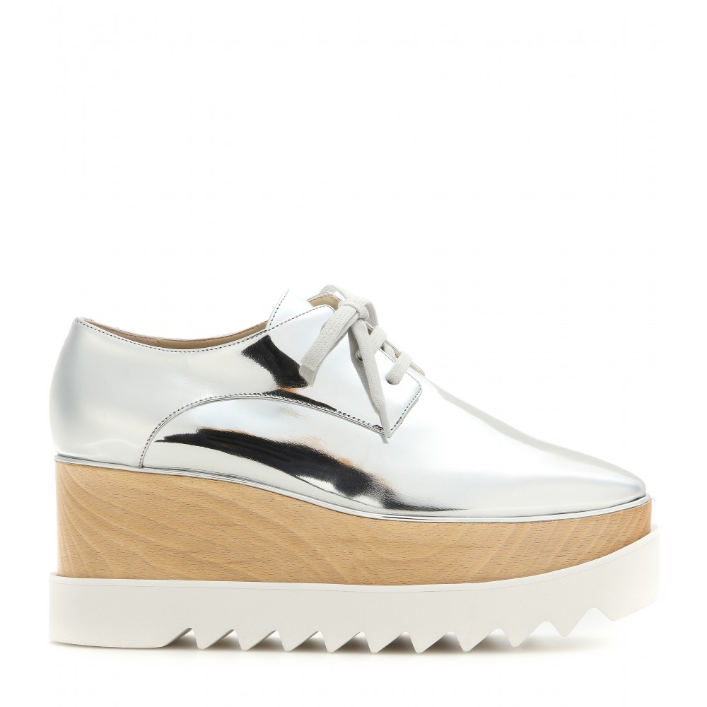 stella mccartney britt metallic platform derby shoes in