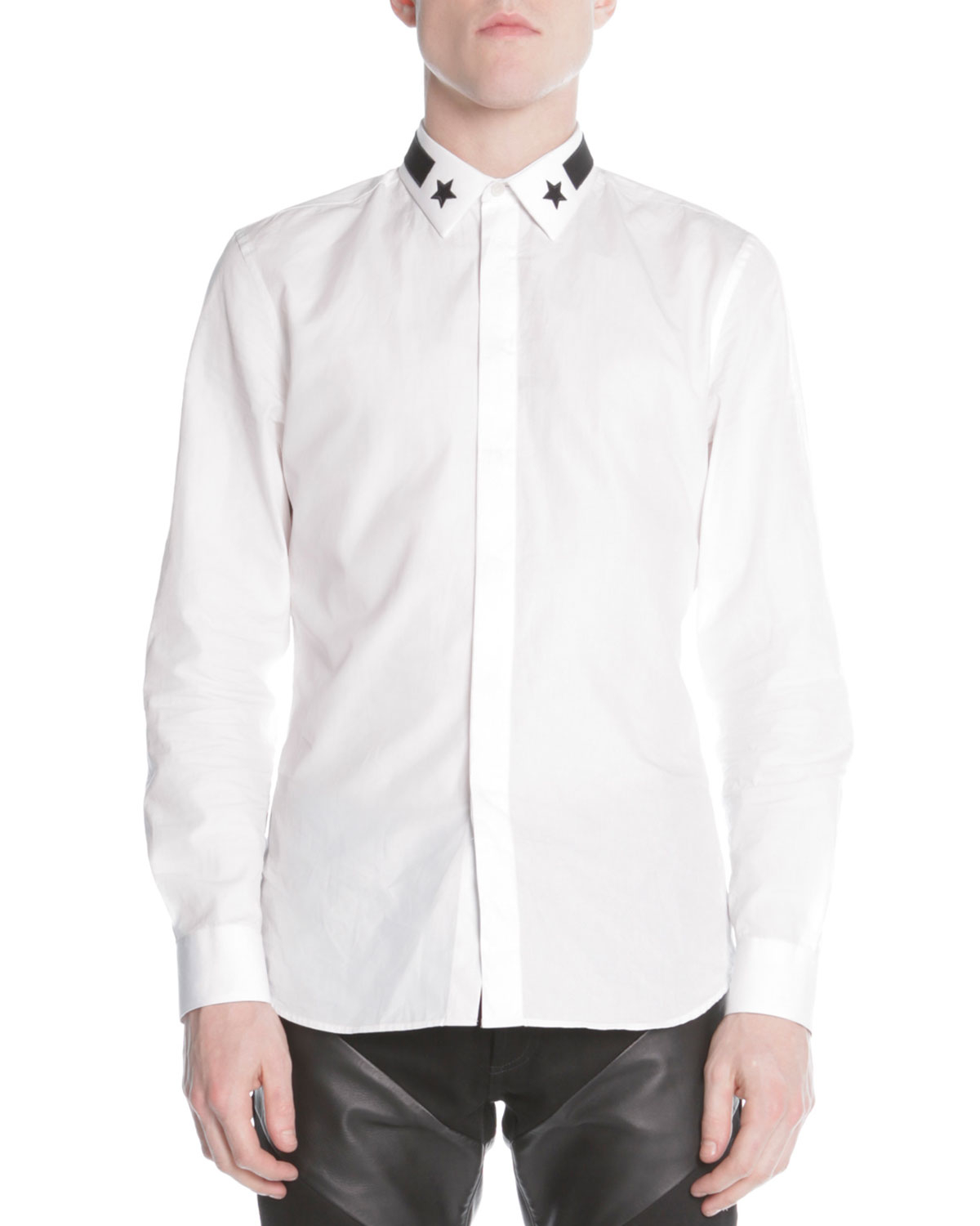 Givenchy Star Stripe Collar Buttondown Shirt In White For