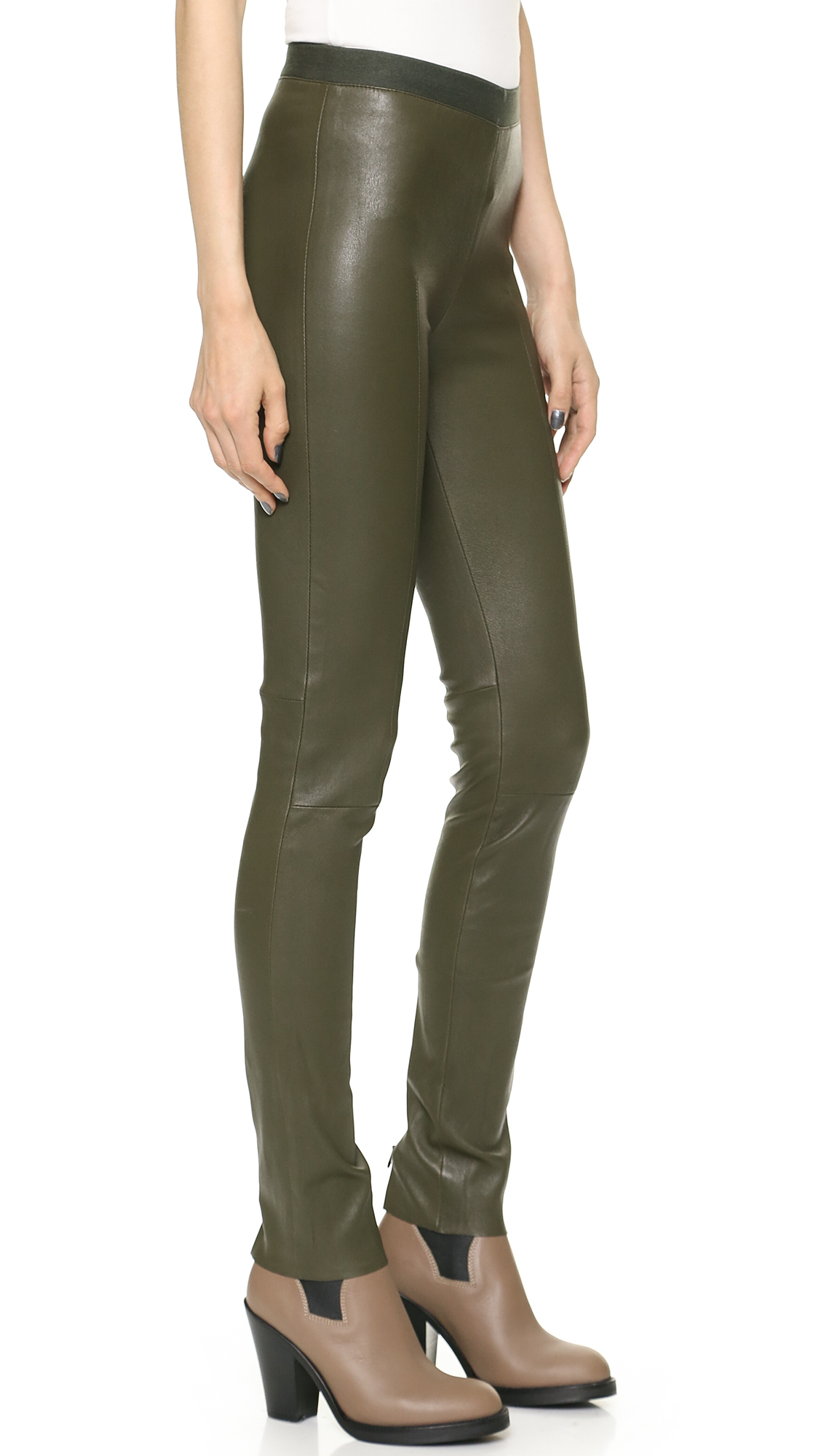 Acne Clean Leather Pants - Moss Green in Green | Lyst
