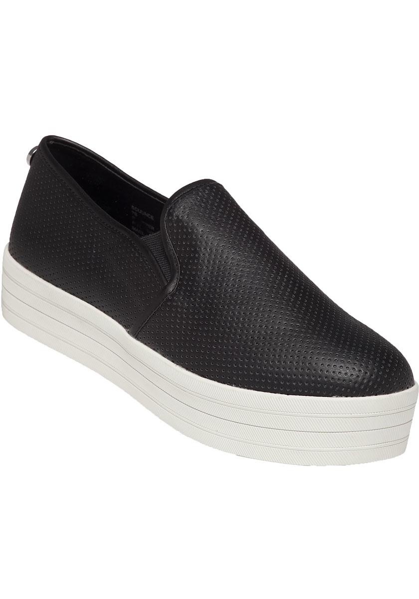 760610b5369 Steve Madden Black Bouunce Perforated Platform Sneakers