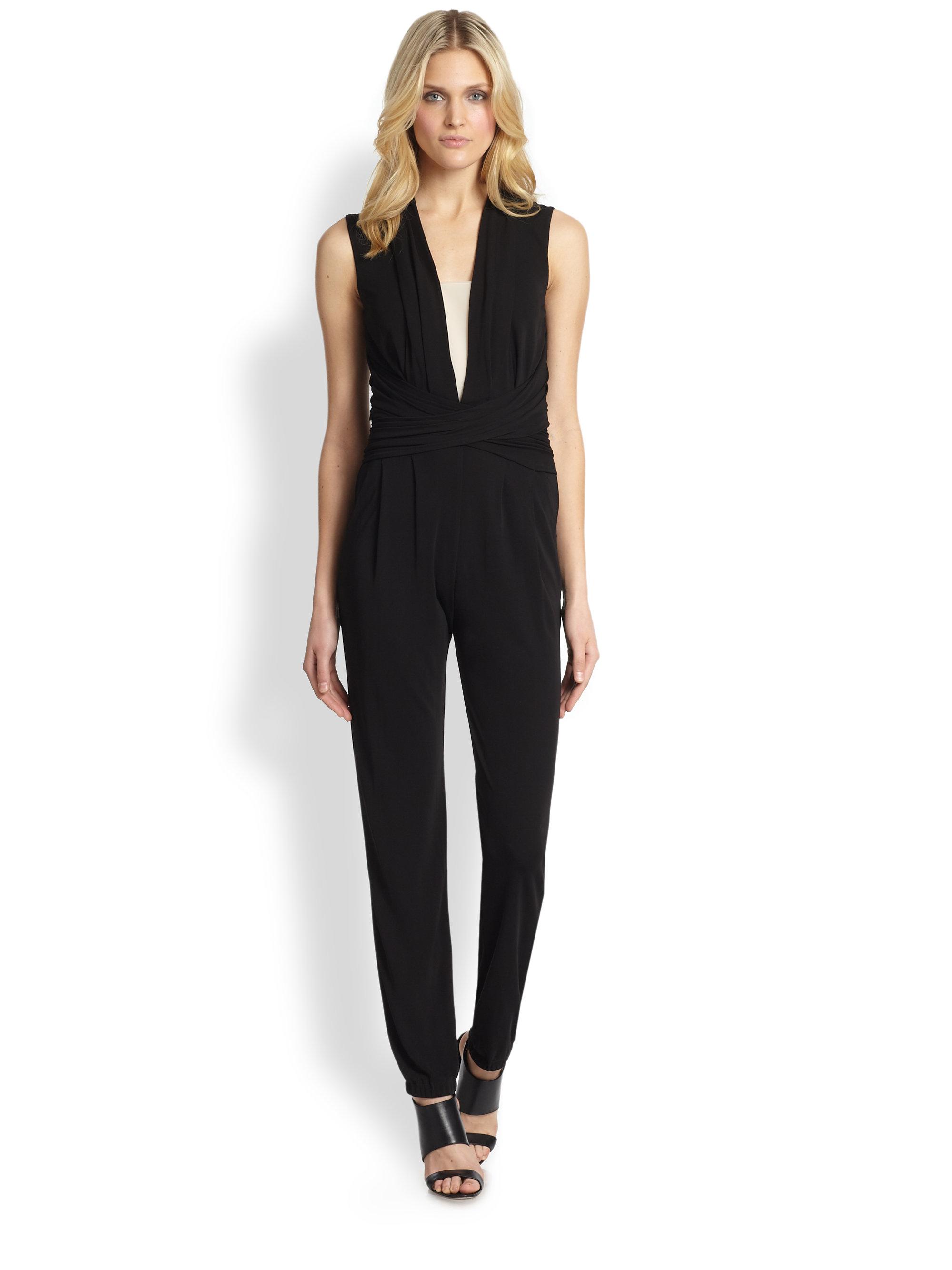 Elie tahari Hudson Silk Jumpsuit in Black | Lyst