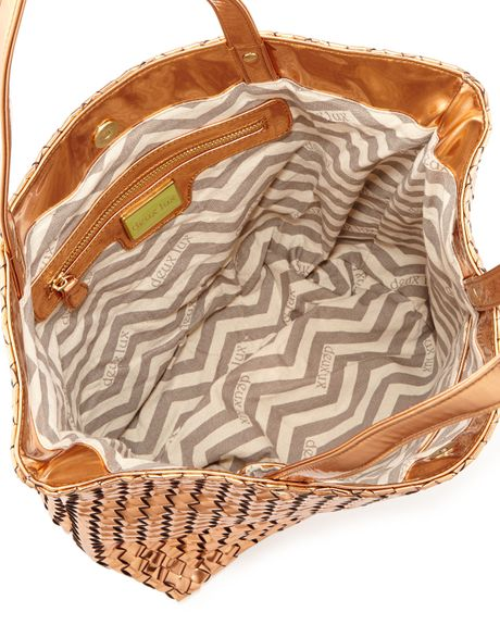 Deux Lux Sunset Metallic Woven Tote Bag Rose Gold In Gold