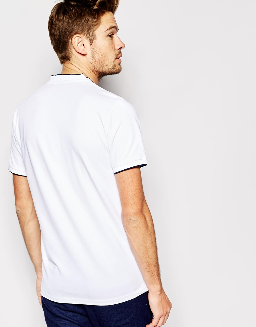 Selected pique t shirt with shawl collar in white for men for Shawl collar t shirt