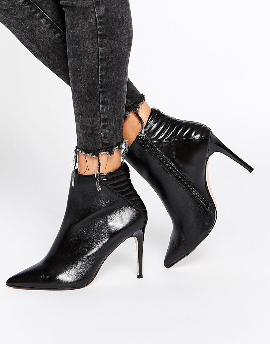 Buy Women Shoes / Dune Ona Black Leather Pointed Heeled Ankle Boots