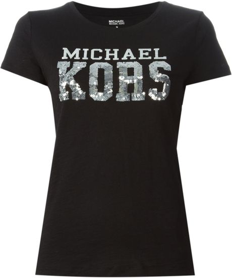Michael michael kors logo print and sequins embroidered t for Michael stars t shirts on sale