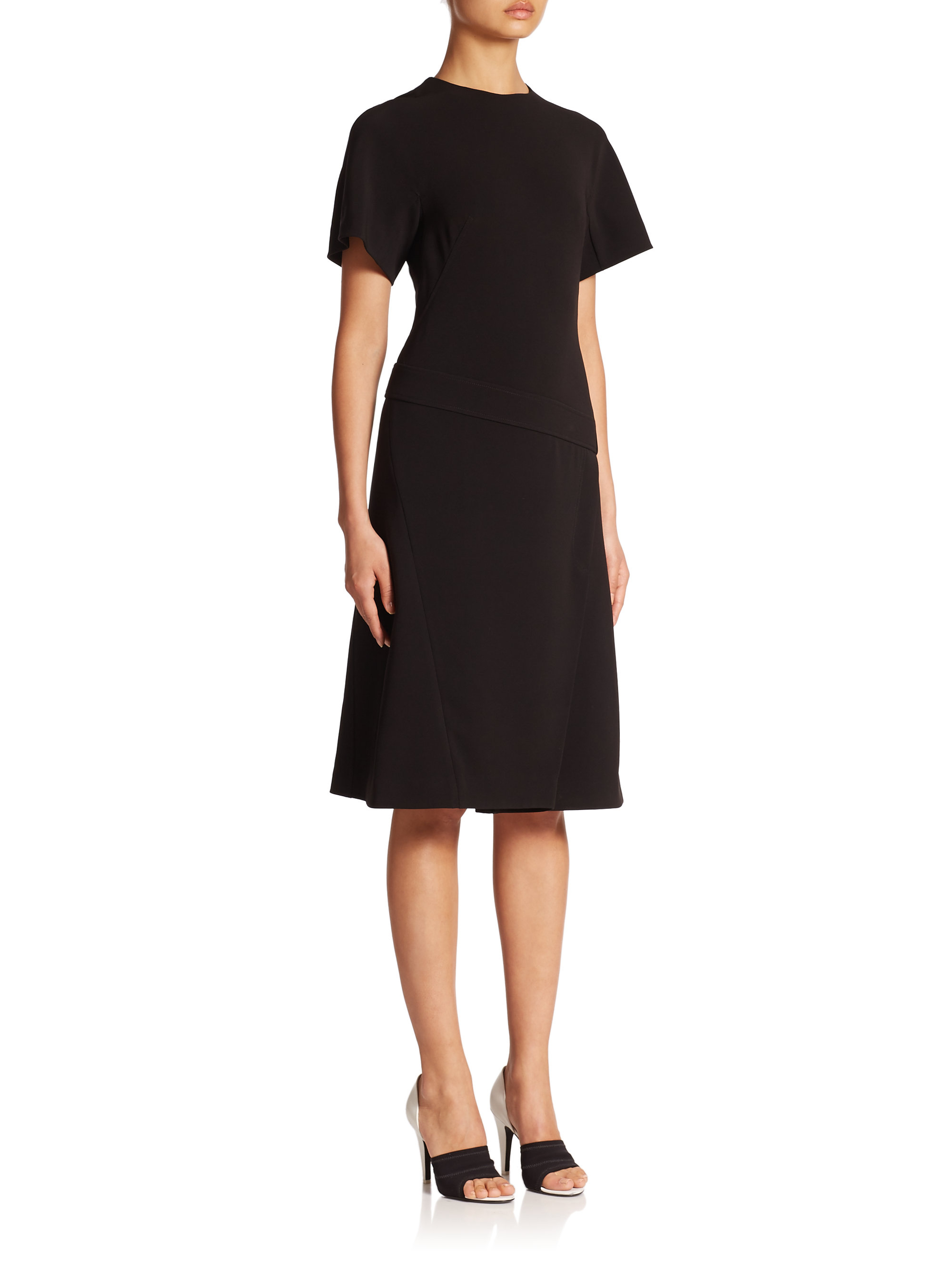 Lyst alexander wang pleated t shirt dress in black for Black pleated dress shirt