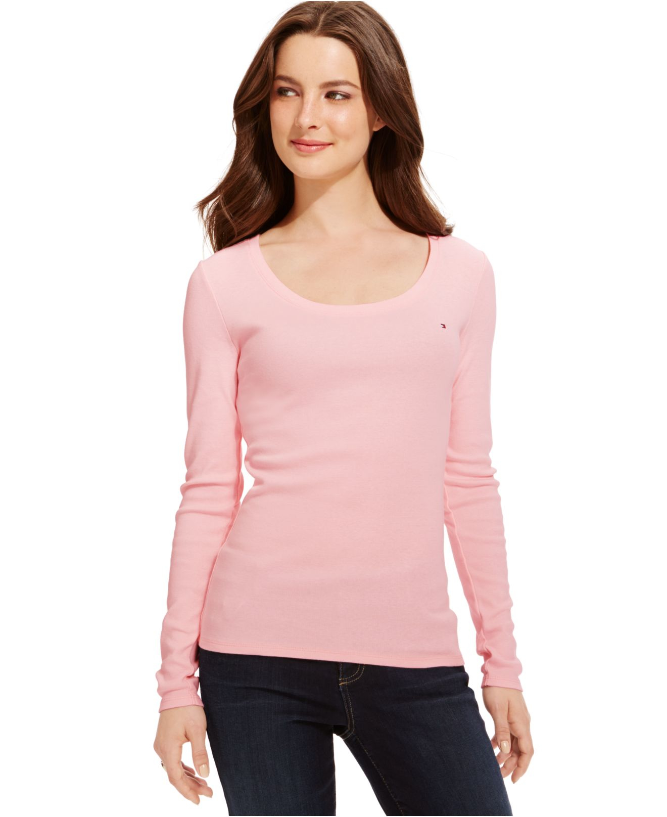 tommy hilfiger solid long sleeve tee in pink ballerina. Black Bedroom Furniture Sets. Home Design Ideas