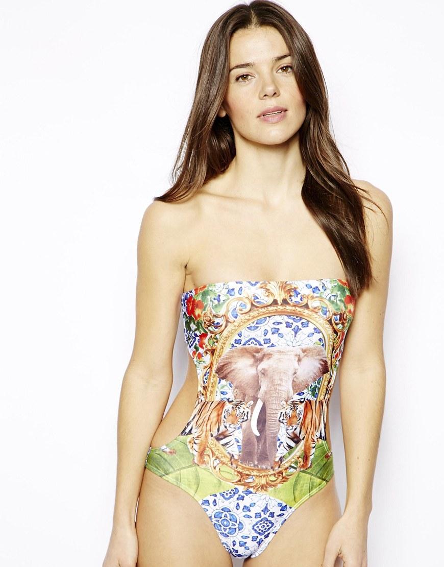 asos gray safari elephant print bandeau swimsuit product 1 17701788 3 204349916 normal asos safari elephant print bandeau swimsuit lyst,7 Elephant Swimwear