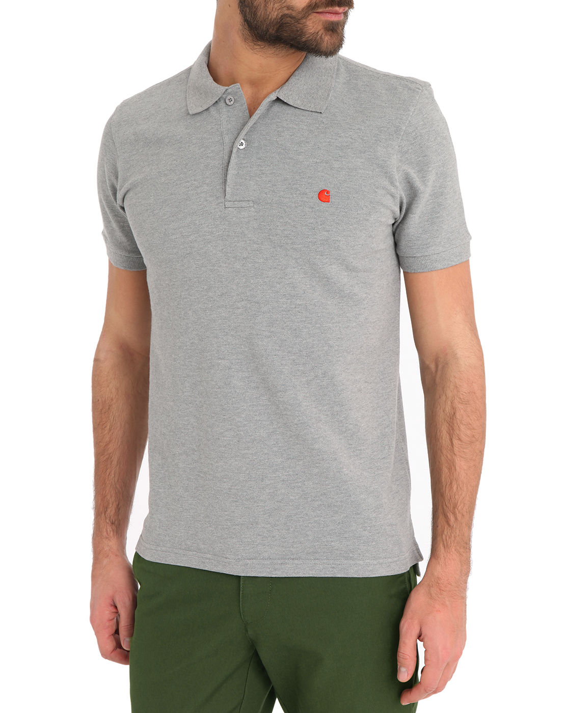 Carhartt Grey Mc Slim Cut Polo Shirt In Gray For Men Grey