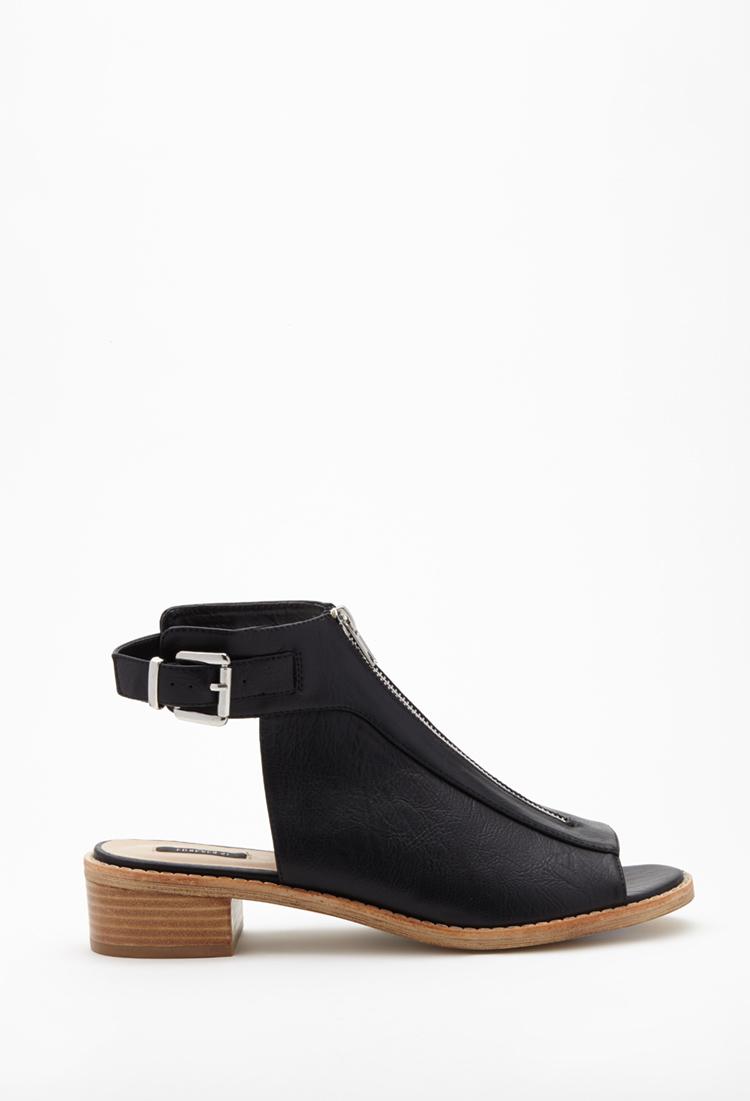 1fdfcc45050 Lyst - Forever 21 Zippered Peep-toe Sandals in Black