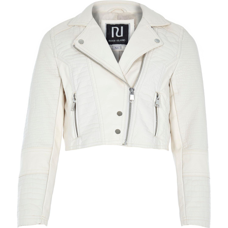9db9128f276f River Island Girls Cream Leather-Look Cropped Biker Jacket in ...