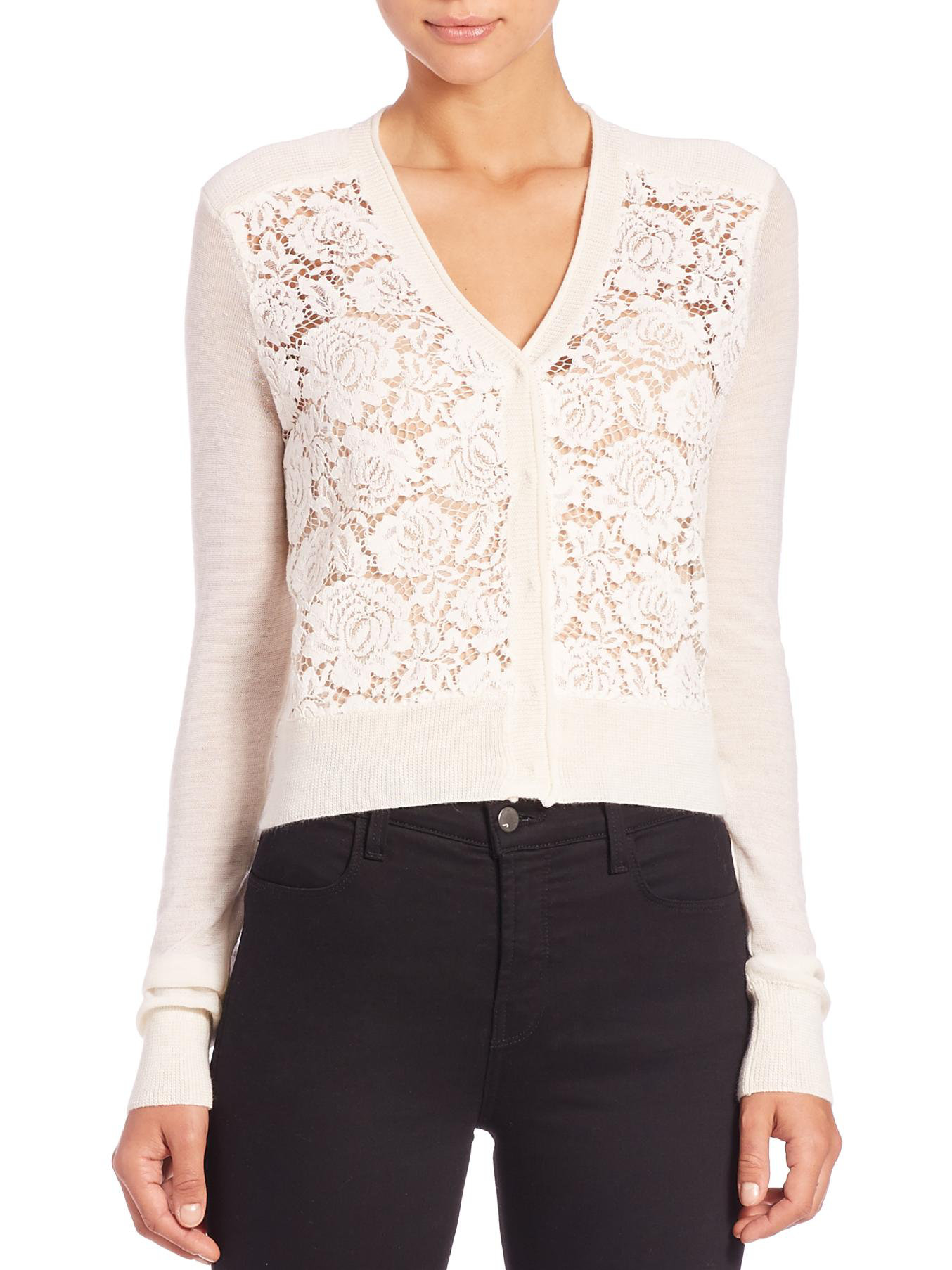 Rebecca taylor Lace-front Cardigan Sweater in White | Lyst