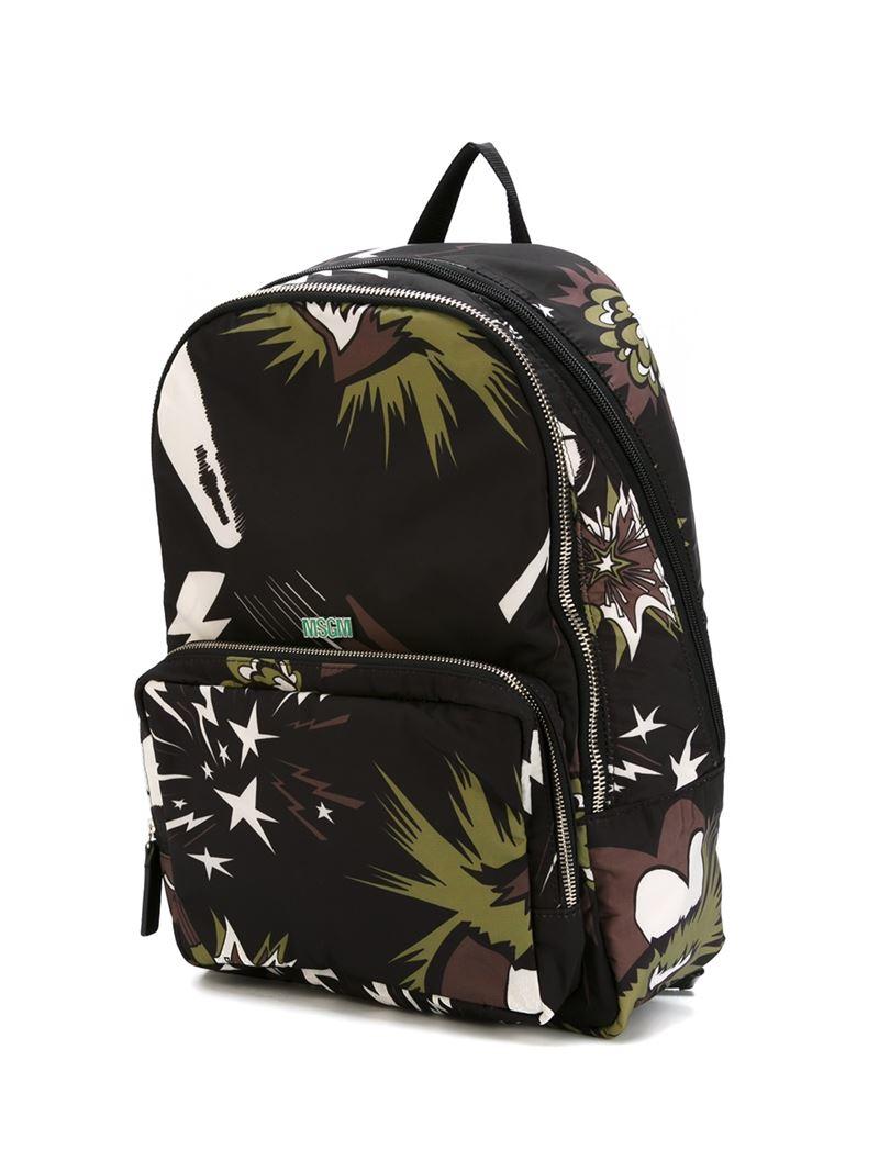 MSGM Star Motif Backpack in Black for Men