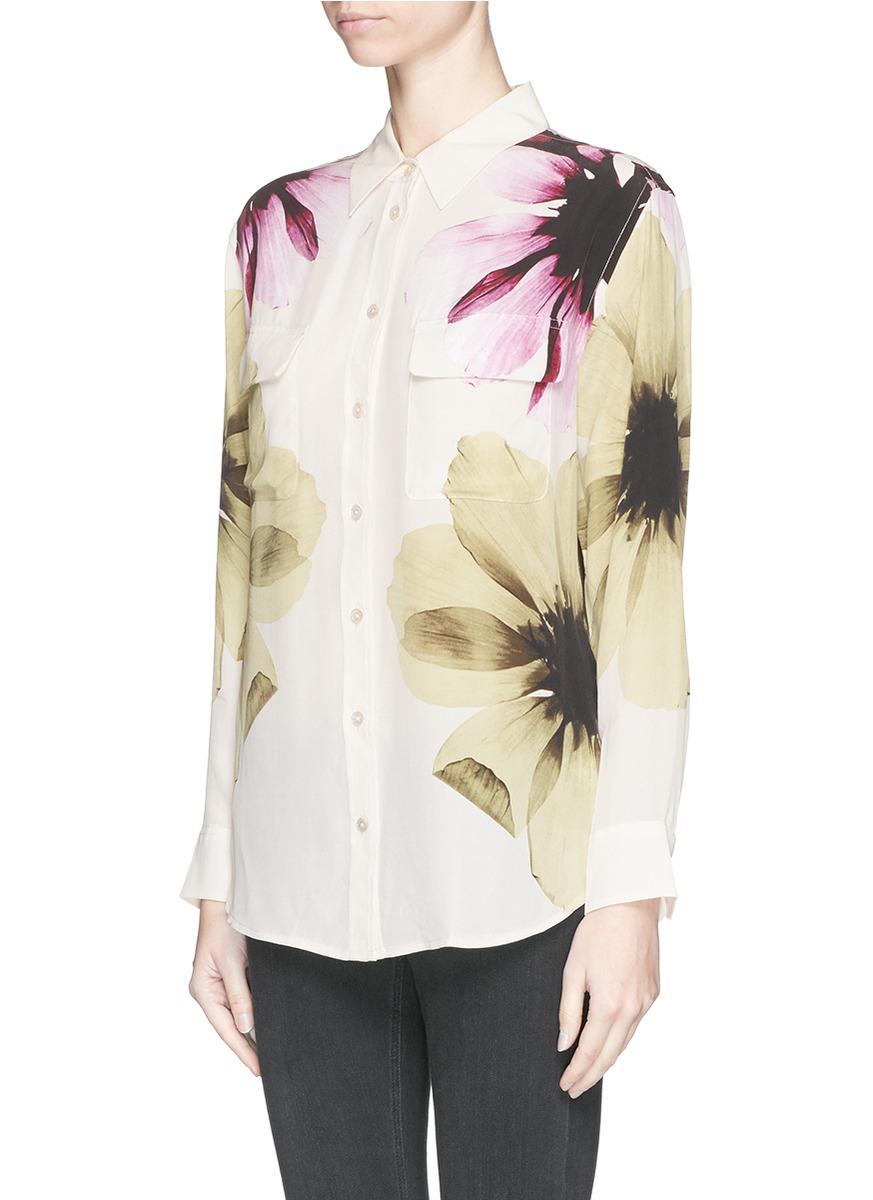 Equipment 39 signature 39 floral print silk shirt lyst for Equipment signature silk shirt