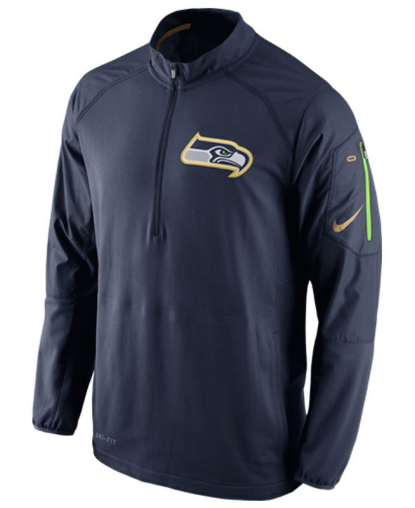 nike men 39 s seattle seahawks champ drive hybrid half zip pullover in blue for men lyst. Black Bedroom Furniture Sets. Home Design Ideas