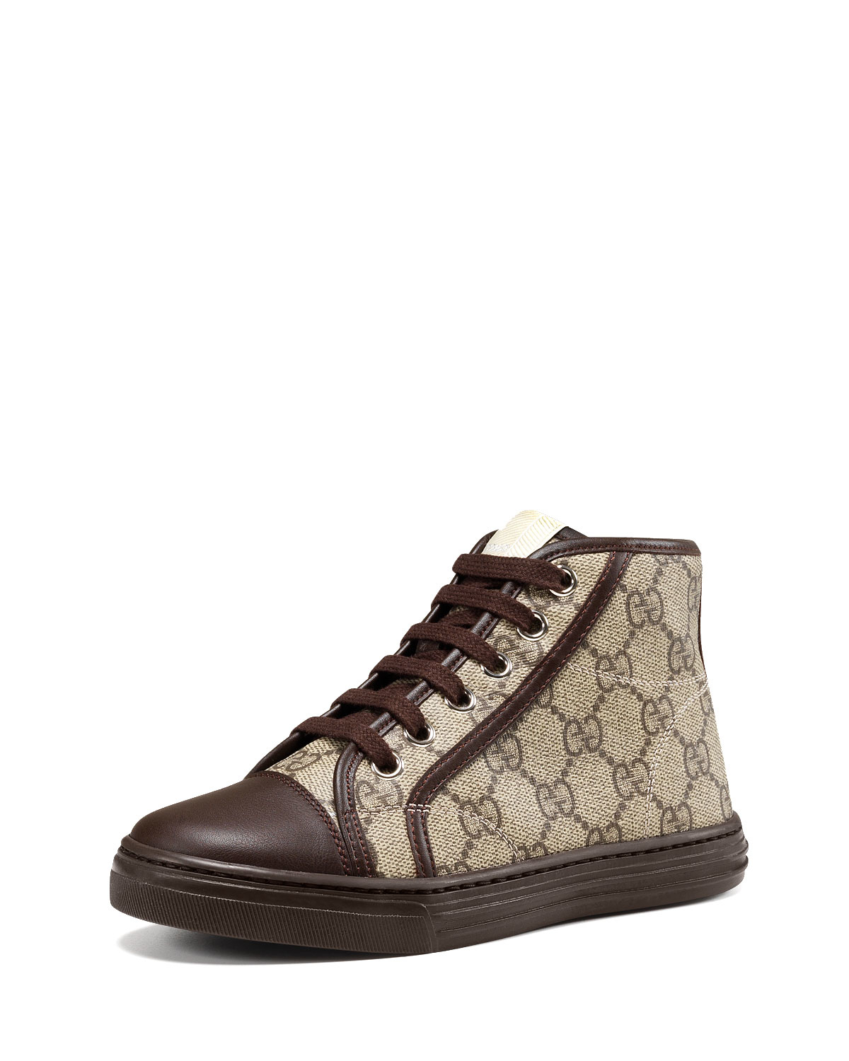 a8c4b4ed0b1 Lyst - Gucci GG Supreme Canvas High-Top Sneakers in Brown for Men