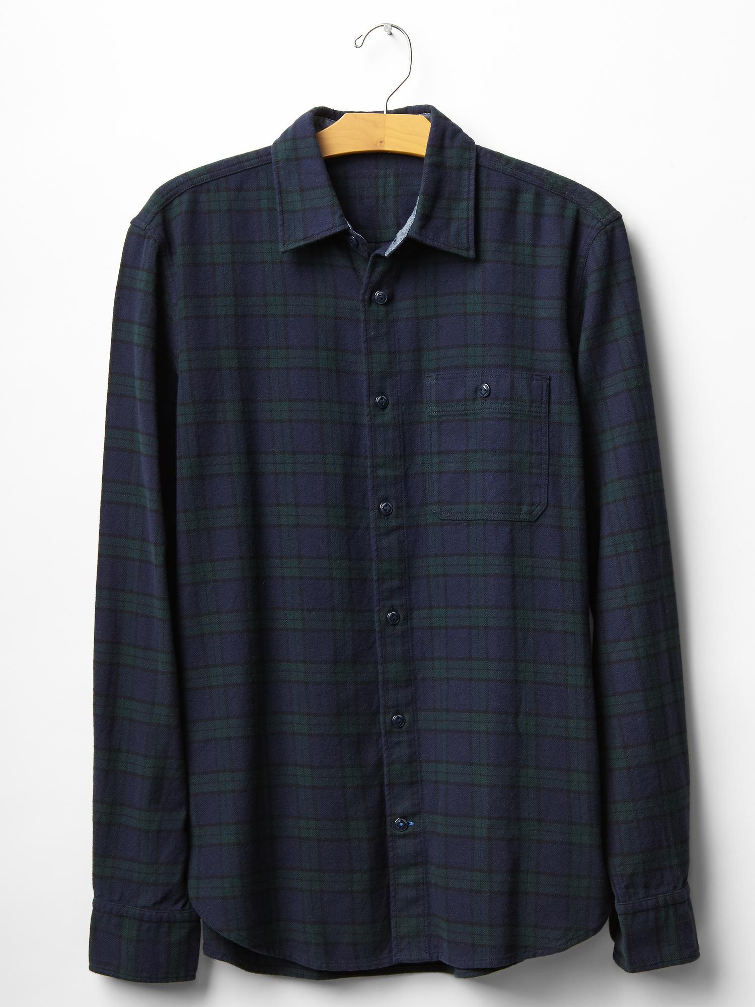 Gap heavyweight flannel blackwatch plaid shirt in blue for for Black watch plaid flannel shirt