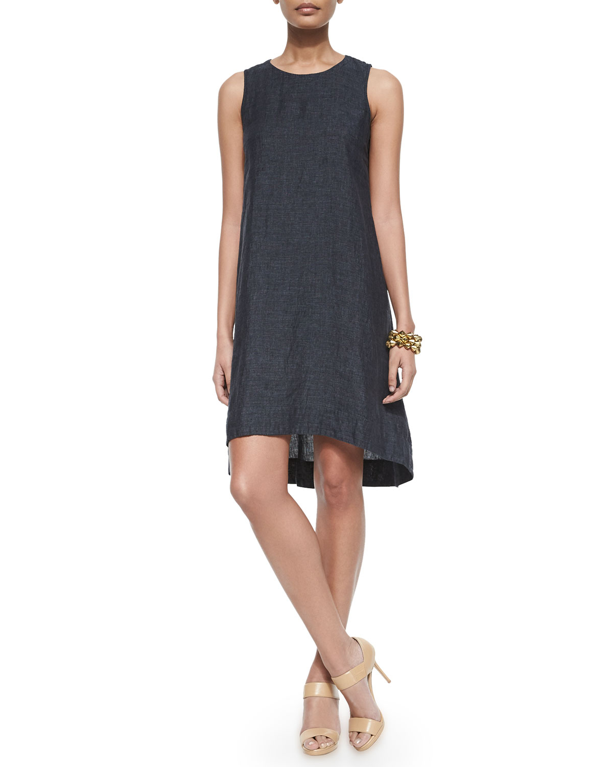 59bc5441fa Lyst - Eileen Fisher Washed Organic Linen Sleeveless Flare Dress in Blue